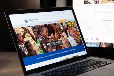 Milan, Italy - August 15, 2018: Helen Keller International NGO website homepage. Helen Keller International logo visible. Editöryel