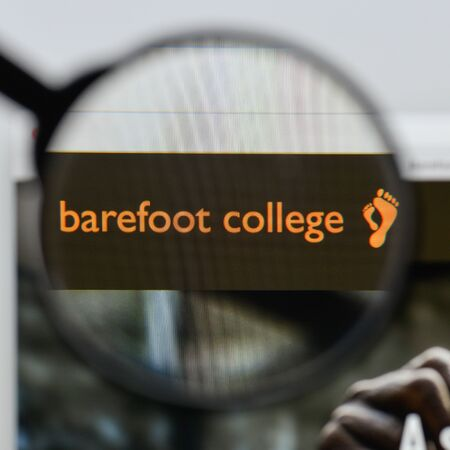 Milan, Italy - August 20, 2018: Barefoot College website homepage. Barefoot College logo visible.