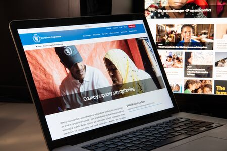 Milan, Italy - August 15, 2018: WFP NGO website homepage. WFP logo visible.