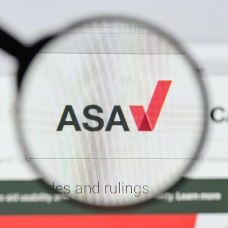 Milan, Italy - August 20, 2018: ASA website homepage. ASA logo visible.