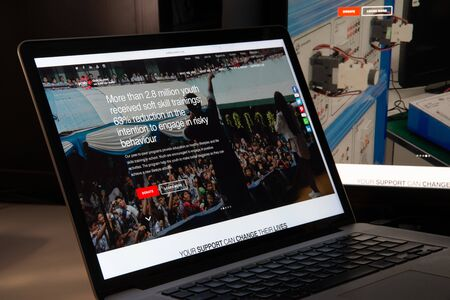 Milan, Italy - August 15, 2018: Ycab Foundation NGO website homepage. Ycab Foundation logo visible.