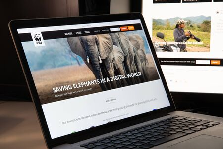 Milan, Italy - August 15, 2018: World Wildlife NGO website homepage. World Wildlife logo visible.