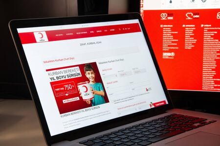 Milan, Italy - August 15, 2018: TurkKizilayi NGO website homepage. TurkKizilayi logo visible.