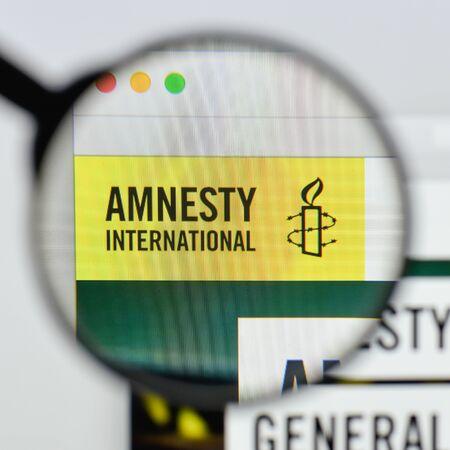 Milan, Italy - August 20, 2018: amnesty international website homepage. amnesty international logo visible. Editöryel