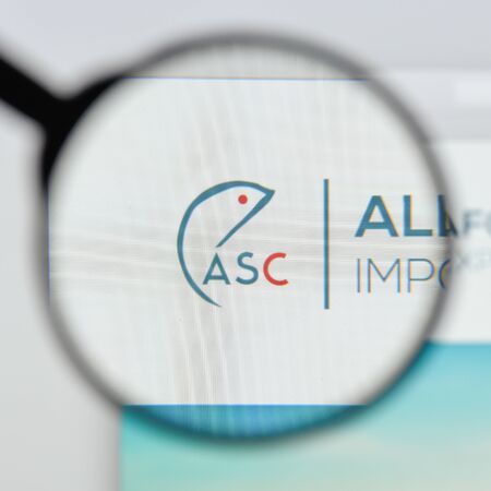 Milan, Italy - August 20, 2018: All Seafood Company website homepage. All Seafood Company logo visible.