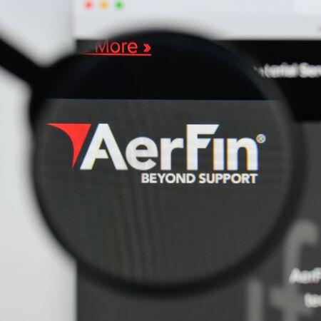 Milan, Italy - August 20, 2018: AerFin website homepage. AerFin logo visible. Editorial