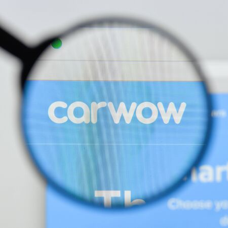 Milan, Italy - August 20, 2018: Carwow website homepage. Carwow logo visible.