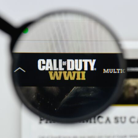 Milan, Italy - August 20, 2018: Call Of Duty WWII website homepage. Call Of Duty WWII logo visible.