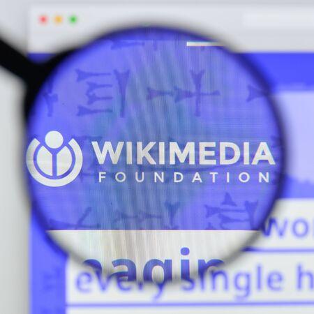 Milan, Italy - August 20, 2018: Wikimedia Foundation website homepage. Wikimedia Foundation logo visible. Editorial