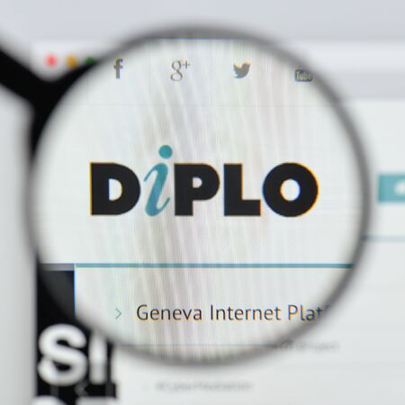 Milan, Italy - August 20, 2018: Diplo Foundation website homepage. Diplo Foundation logo visible. Editorial