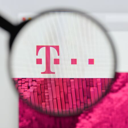 Milan, Italy - August 20, 2018: T-Mobile website homepage. T-Mobile logo visible. Editorial
