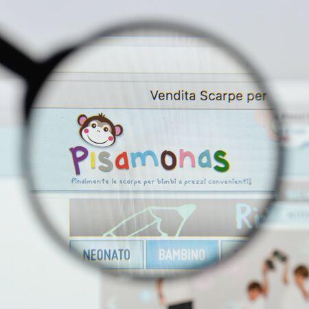 Milan, Italy - August 20, 2018: Pisamonas website homepage. Pisamonas logo visible.