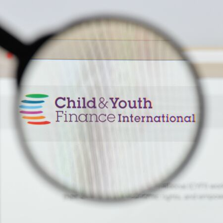 Milan, Italy - August 20, 2018: Child & Youth Finance International website homepage. Child & Youth Finance International logo visible.