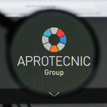 Milan, Italy - August 20, 2018: Aprotecnic website homepage. Aprotecnic logo visible.