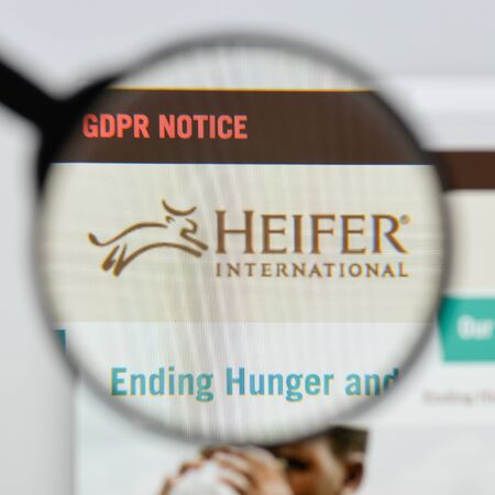 Milan, Italy - August 20, 2018: Heifer International website homepage. Heifer International logo visible.