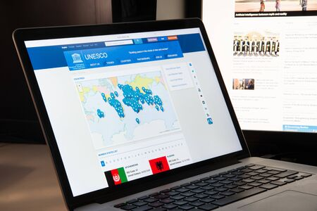 Milan, Italy - August 15, 2018: UNESCO NGO website homepage. UNESCO logo visible.