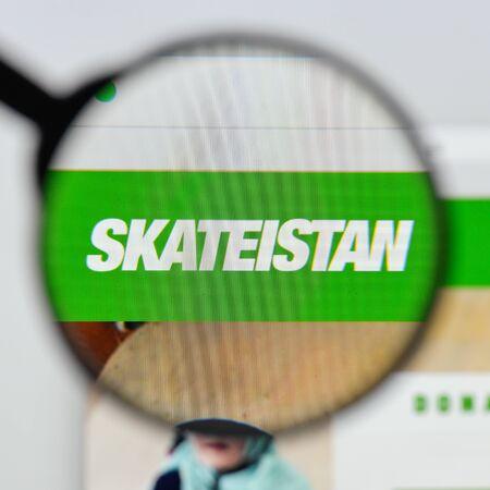 Milan, Italy - August 20, 2018: Skateistan website homepage. Skateistan logo visible.