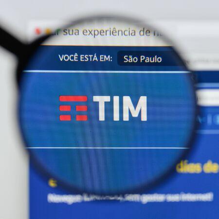 Milan, Italy - August 20, 2018: TIM BRASIL website homepage. TIM BRASIL logo visible. Editorial