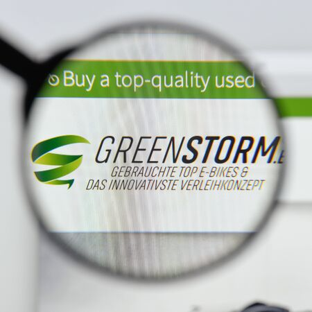 Milan, Italy - August 20, 2018: Greenstorm mobility website homepage. Greenstorm mobility logo visible.