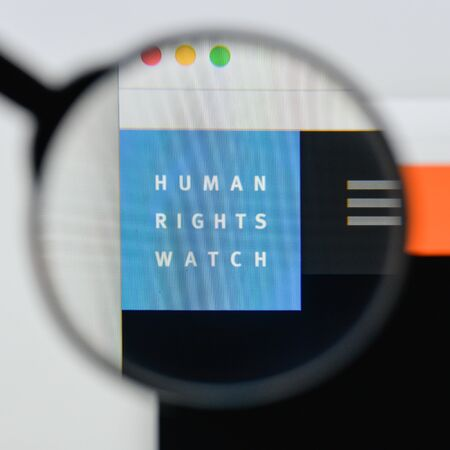 Milan, Italy - August 20, 2018: Human Rights Watch website homepage. Human Rights Watch logo visible.