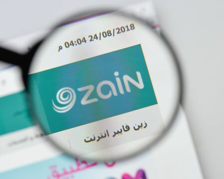 Milan, Italy - August 20, 2018: Zain Group website homepage. Zain Group logo visible.