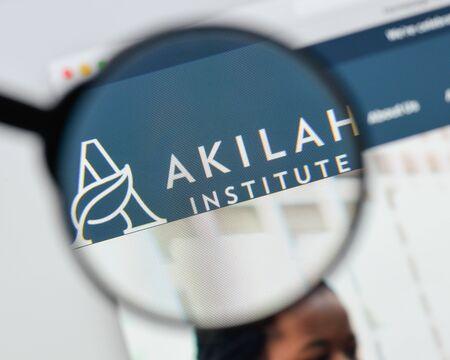 Milan, Italy - August 20, 2018: Akilah Institute for Women website homepage. Akilah Institute for Women logo visible.