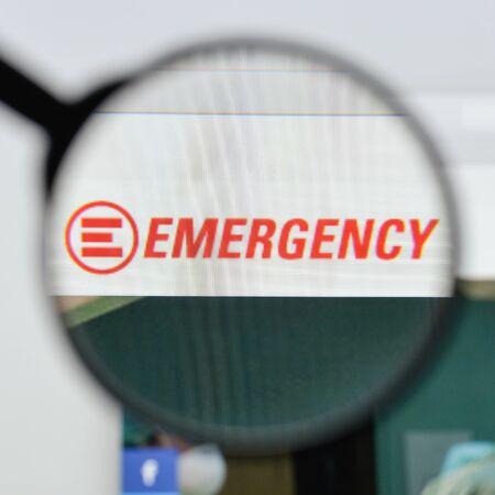 Milan, Italy - August 20, 2018: emergency website homepage. emergency logo visible.