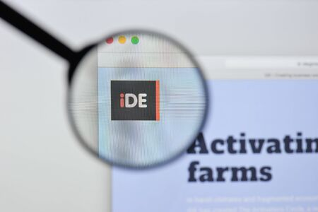 Milan, Italy - August 20, 2018: iDE website homepage. iDE logo visible. Editorial