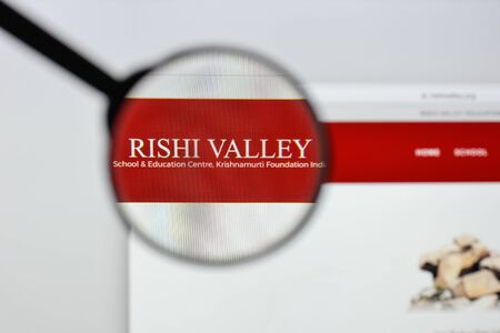 Milan, Italy - August 20, 2018: Rishi Valley Institute for Educational Resources website homepage. Rishi Valley Institute for Educational Resources logo visible.