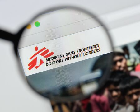 Milan, Italy - August 20, 2018: Doctors without borders website homepage. Doctors without borders logo visible. 新聞圖片