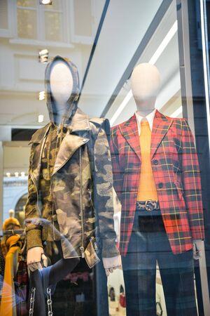 Milan, Italy - September 21, 2018: Michael Kors store in Milan. Montenapoleone area. Fashion week Michael Kors shopping.