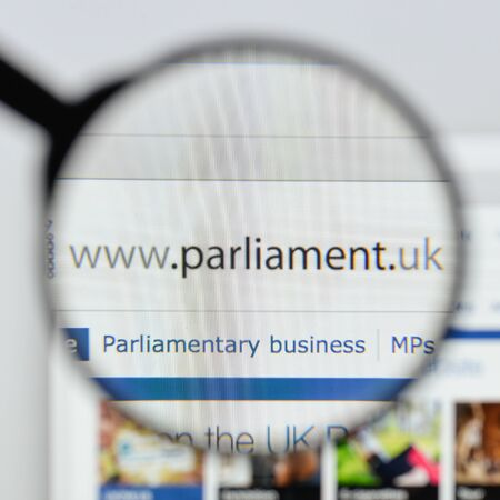 Milan, Italy - August 20, 2018: UK Parliament website homepage. UK Parliament logo visible.