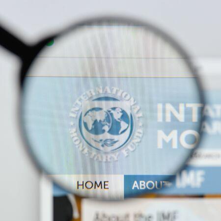 Milan, Italy - August 20, 2018: international monetary fund website homepage. international monetary fund logo visible.