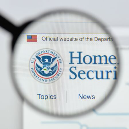 Milan, Italy - August 20, 2018: Homeland Security website homepage. Homeland Security logo visible. Editorial