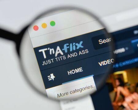 Milan, Italy - August 20, 2018: tnaflix website homepage. tnaflix logo visible.