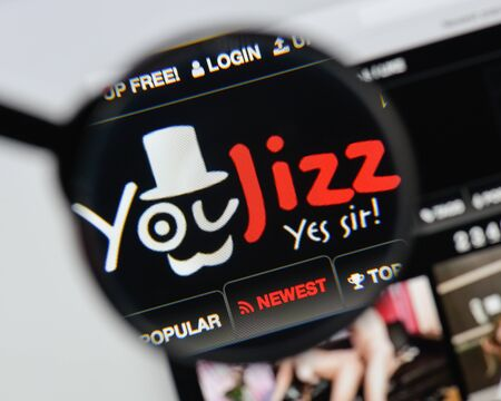 Milan, Italy - August 20, 2018: youjizz website homepage. youjizz logo visible.