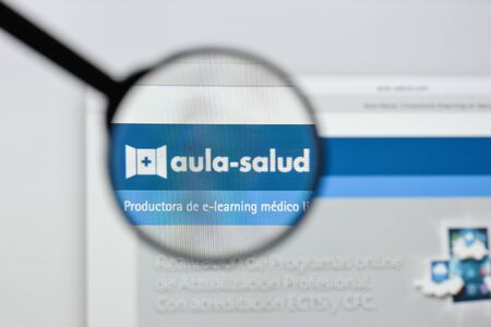 Milan, Italy - August 20, 2018: Aula Salud website homepage. Aula Salud logo visible. Editorial