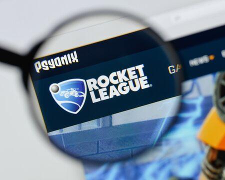 Milan, Italy - August 20, 2018: Rocket League website homepage. Rocket League logo visible.