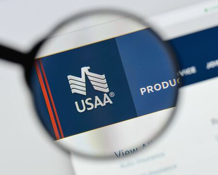 Milan, Italy - August 20, 2018: USAA website homepage. USAA logo visible. Editorial