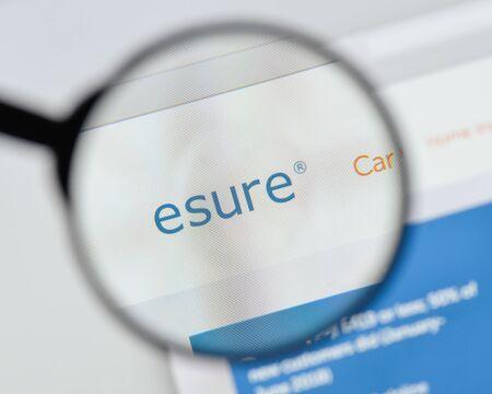 Milan, Italy - August 20, 2018: Esure website homepage. Esure logo visible.