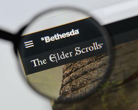 Milan, Italy - August 20, 2018: The Elder Scrolls V: Skyrim website homepage. The Elder Scrolls V: Skyrim logo visible.