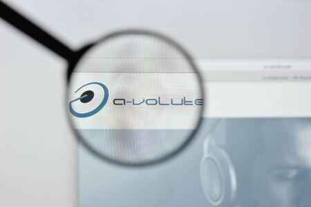 Milan, Italy - August 20, 2018: A-Volute website homepage. A-Volute logo visible.