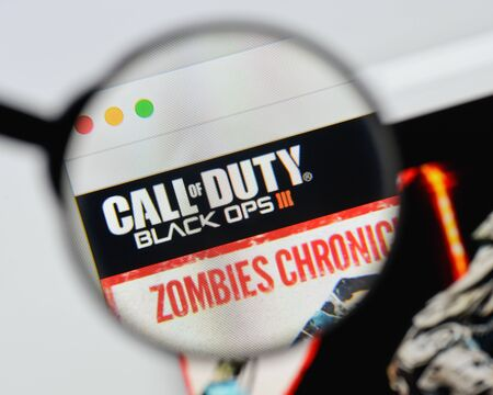 Milan, Italy - August 20, 2018: Call Of Duty: Black Ops III website homepage. Call Of Duty: Black Ops III logo visible.