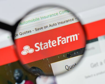 Milan, Italy - August 20, 2018: State Farm website homepage. State Farm logo visible. Editorial