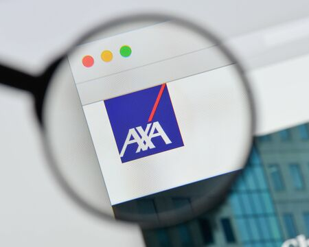 Milan, Italy - August 20, 2018: Axa website homepage. Axa logo visible.