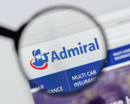 Milan, Italy - August 20, 2018: Admiral website homepage. Admiral logo visible.