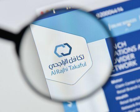 Milan, Italy - August 20, 2018: Al Rajhi Takaful website homepage. Al Rajhi Takaful logo visible. Editorial