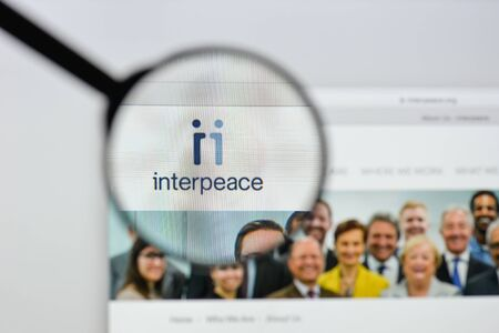 Milan, Italy - August 20, 2018: Interpeace website homepage. Interpeace logo visible. Editorial