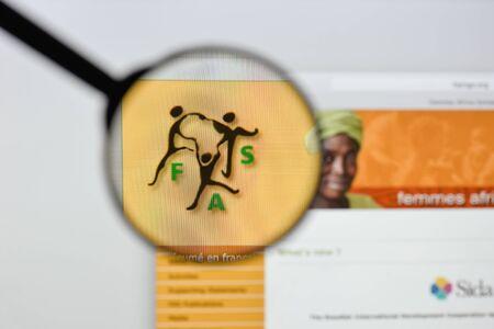 Milan, Italy - August 20, 2018: Femmes Africa Solidarité website homepage. Femmes Africa Solidarité logo visible.