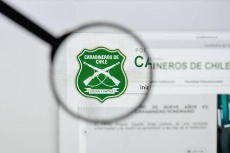 Milan, Italy - August 20, 2018: Carabineros de Chile website homepage. Carabineros de Chile logo visible.